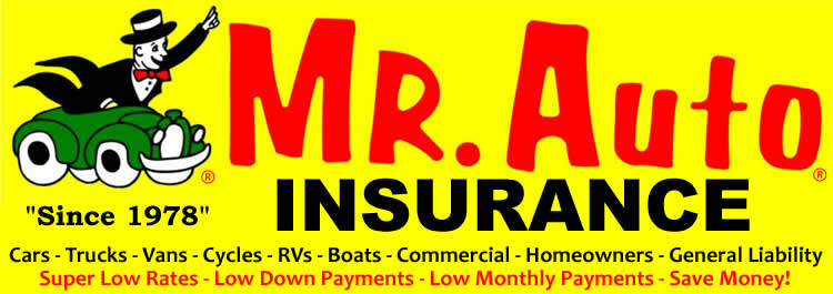 Mr Auto Insurance offers super low rates with low down payments & low monthly payments.  All vehicles, all drivers, all violations are no problem!  Get the lowest insurance quote on cars, trucks, vans, & motorcycles by calling 888-225-9656 today.